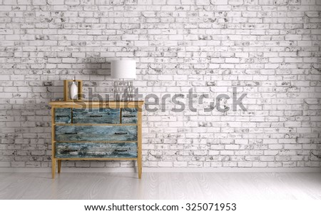 Interior of a room with vintage chest of drawers 3d render - stock photo