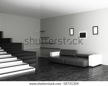 Interior of a stylish hall - stock photo