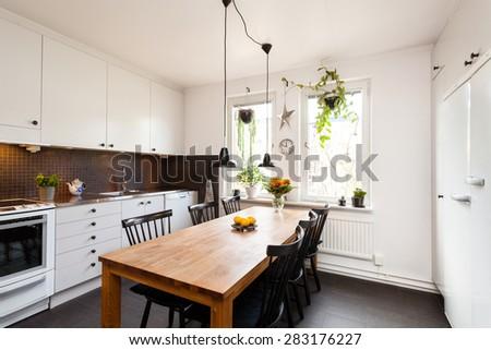 interior of a stylish kitchen - stock photo