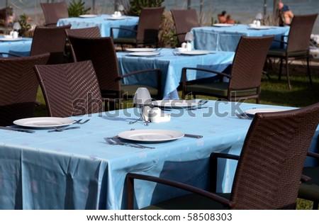 interior of a summer terrace of restaurant in Turkey - stock photo