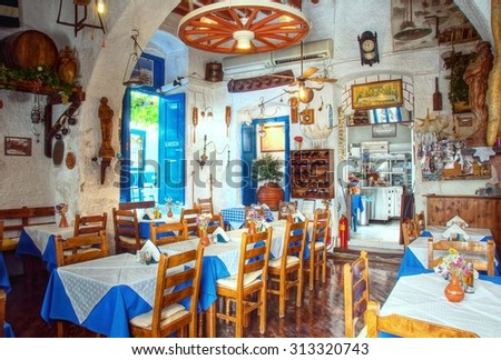 interior of a traditonal greek restaurant  - stock photo