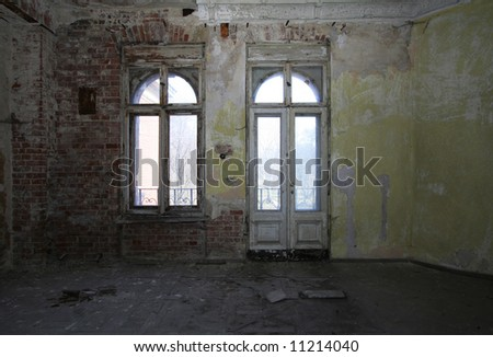Interior of a vintage ruined castle - stock photo