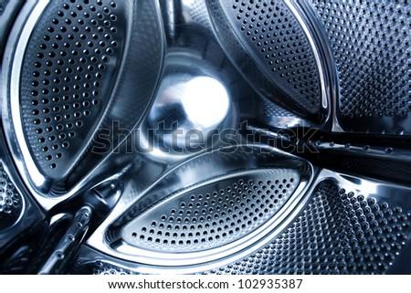 interior of a washing machine - stock photo