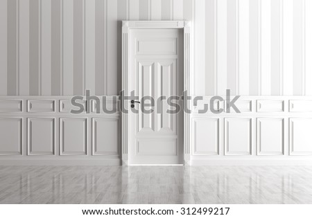 Interior of a white room with classic door - stock photo