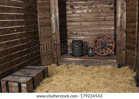 Interior of a wooden hayloft - stock photo