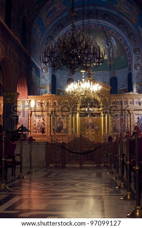 interior of Agios Dionysios Church. Zakynthos  City, Greece - stock photo