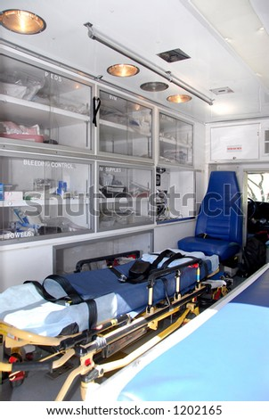 Interior of ambulance - stock photo