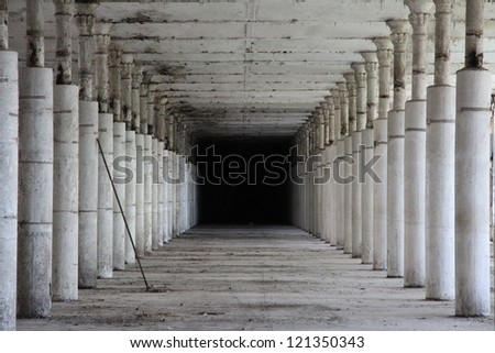 interior of an abandoned factory in Narva, Estonia - stock photo