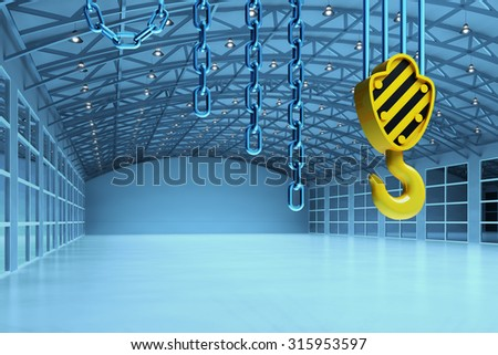 Interior of an empty warehouse building, cargo shipment industry concept, modern storehouse office with crane hook and chains in blue light - stock photo