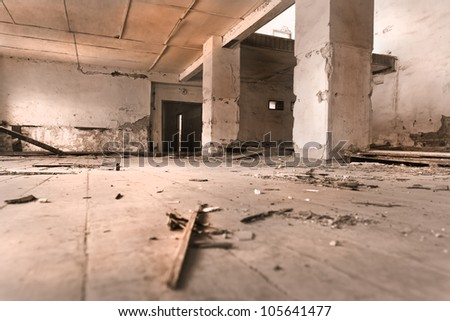 Interior of an old abandoned military building, the movie room - stock photo
