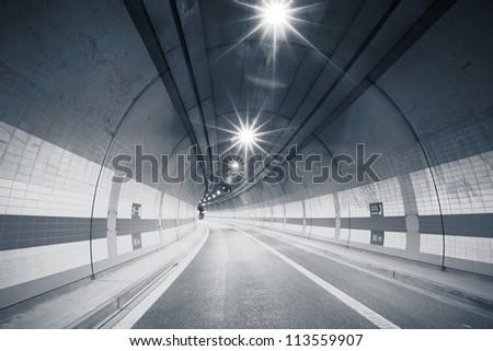 Interior of an urban tunnel, Prague, Czech Republic - stock photo