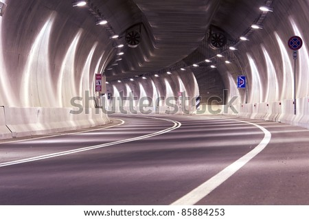 Interior of an urban tunnel without traffic - stock photo