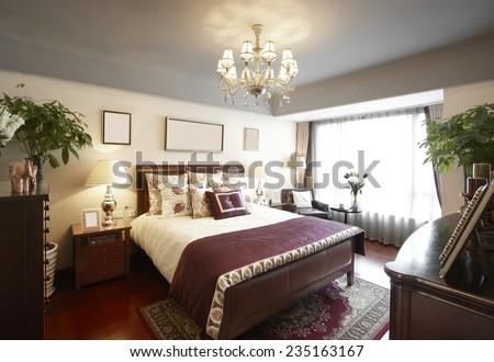 interior of beige living room - stock photo