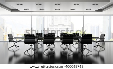 Interior of boardroom with black armchairs 3D rendering  - stock photo