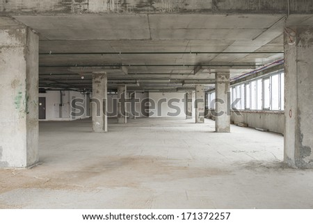 Interior of business center under construction - stock photo