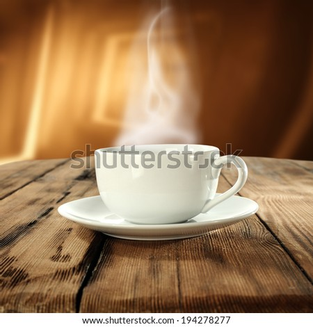 interior of cafe and coffee cup  - stock photo