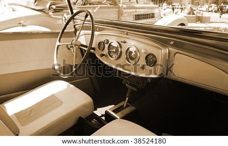Interior of  car in retro style - stock photo