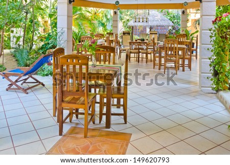 Interior of caribbean mexican traditional style  restaurant. - stock photo