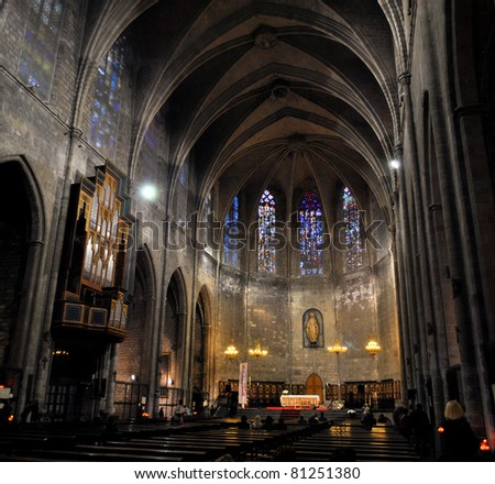 interior of catholic cathedral Santa Maria del Pi in barcelona, spain, catalonia - stock photo