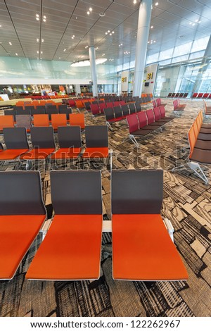 Interior of Changi Airport in Singapore - stock photo