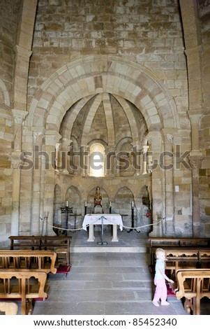 interior of Church of Saint Mary of Eunate, Road to Santiago de Compostela, Navarre, Spain - stock photo