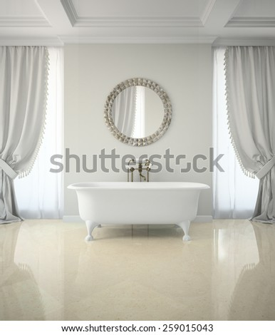 Interior of classic bathroom with curtains round mirror 3D rendering - stock photo