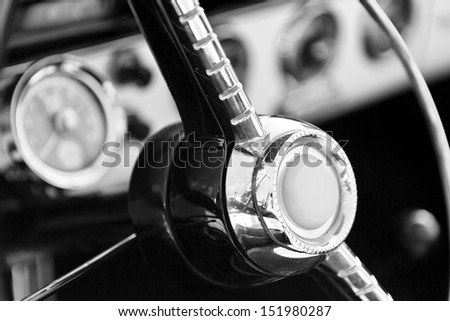 interior of classic car - stock photo