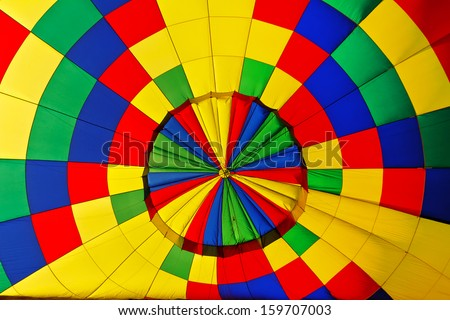 interior of colorful hot air balloon - stock photo