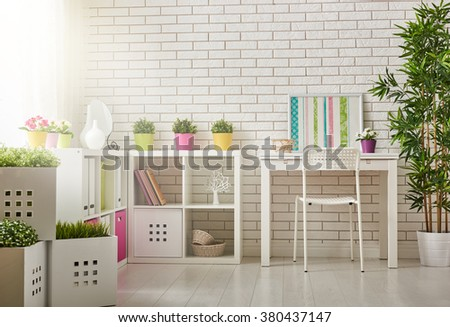 Interior of colorful unisex room for child - stock photo