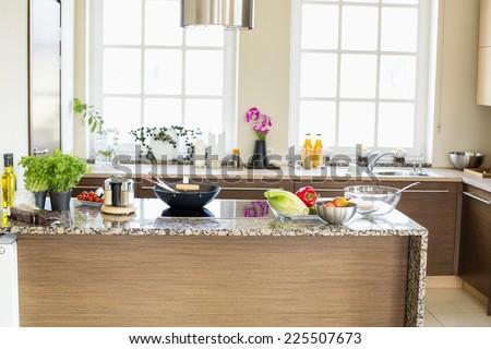 Interior of contemporary kitchen - stock photo