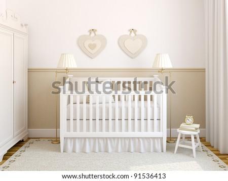 Interior of cozy nursery. Frontal view. 3d render. - stock photo