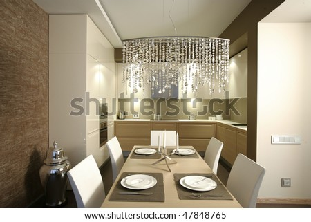 interior of dinning room and a part of kitchen - stock photo
