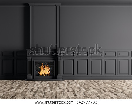 Interior of empty classic room with fireplace over black panels wall 3d rendering - stock photo
