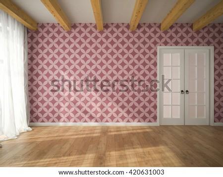Interior of empty room with vinous wallpaper and door 3D rendering  - stock photo