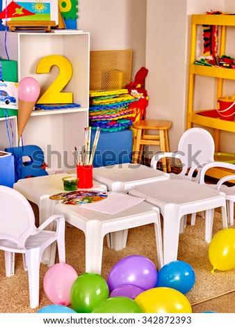 Interior of game room in preschool  kindergarten. No people. - stock photo