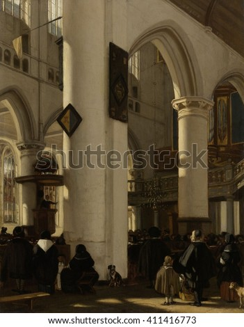 Interior of Gothic Protestant Church During a Service, by Emanuel de Witte, 1669, Dutch oil painting. The people face toward minister speaking from the raised pulpit attached to a column at left. The - stock photo