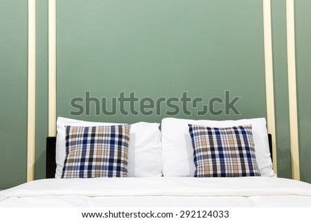Interior of green bedroom vintage style - stock photo