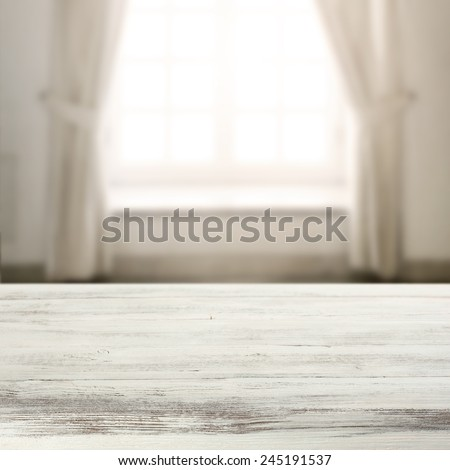 interior of home with window and sun light and top  table space  - stock photo