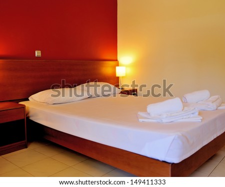 Interior of hotel room - bed room - stock photo