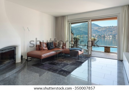 Interior of house, modern living room, marble floor - stock photo