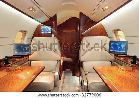 interior of jet airplane - stock photo