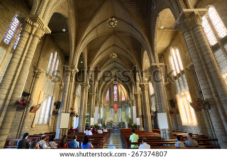 Interior of King Cathedral (Stone Church) in the morning. Nha Trang, Vietnam - stock photo