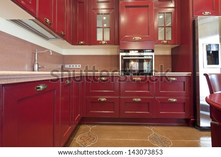 Interior of kitchen in classic style - stock photo