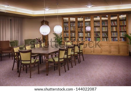 Interior of library in senior house - stock photo