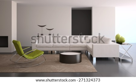 Interior of living-room in modern house. 3d render. - stock photo