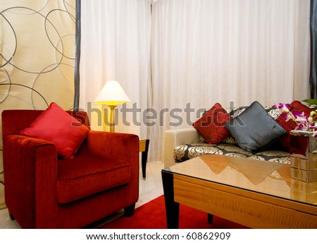 Interior of living room in the dark - stock photo