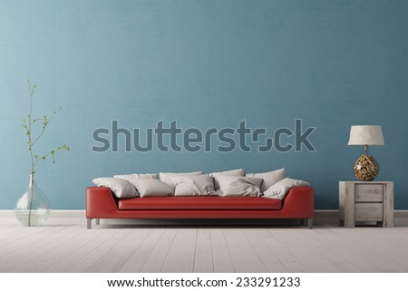 Interior of living room with a red sofa in front of a blue wall (3D Rendering) - stock photo