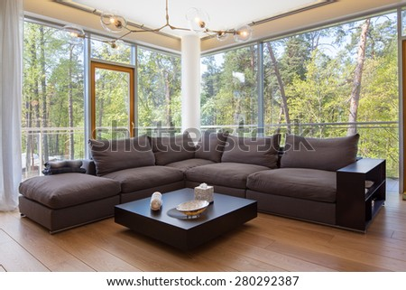 Interior of living room with a view - stock photo