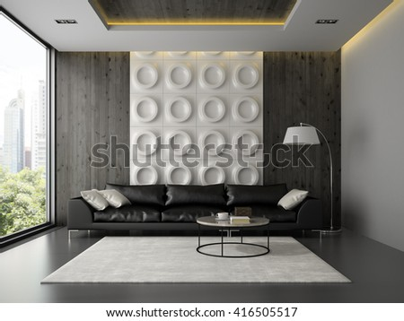 Interior of living room with black couch 3D rendering  - stock photo