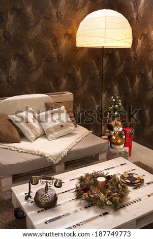 Interior of living room with Christmas decorations - stock photo